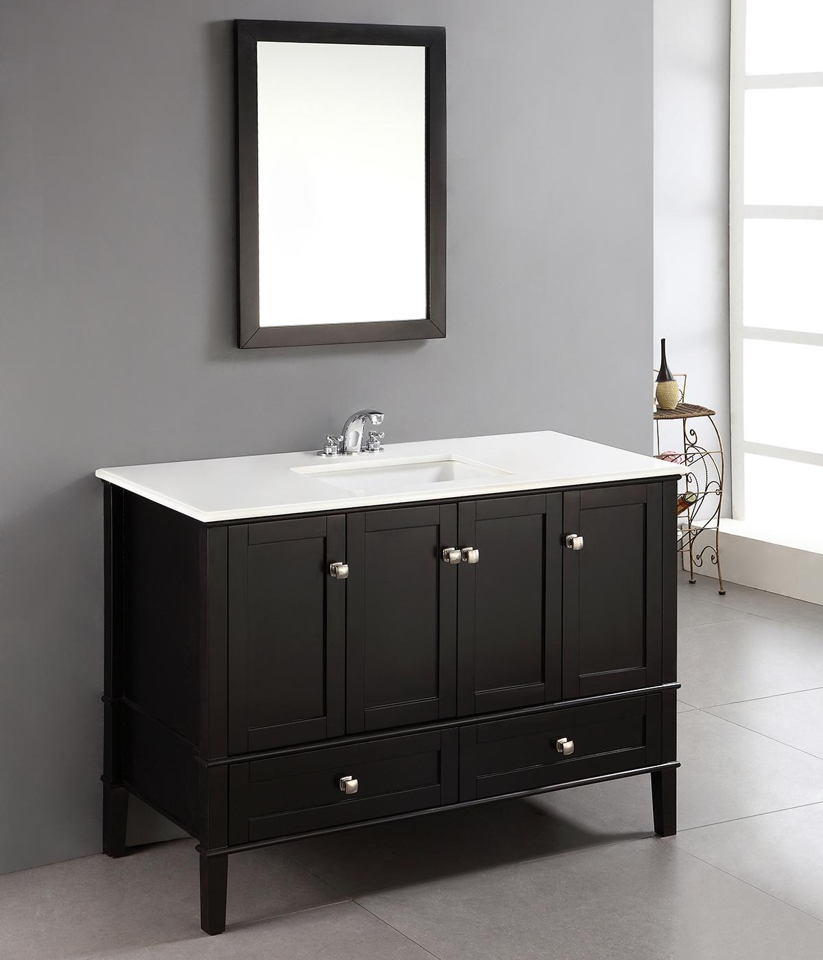 Simpli home chelsea 48 bath vanity with white quartz for Black bathroom vanity with white marble top