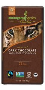 dark chocolate, fair trade, non-gmo, vegan, kosher, gluten free