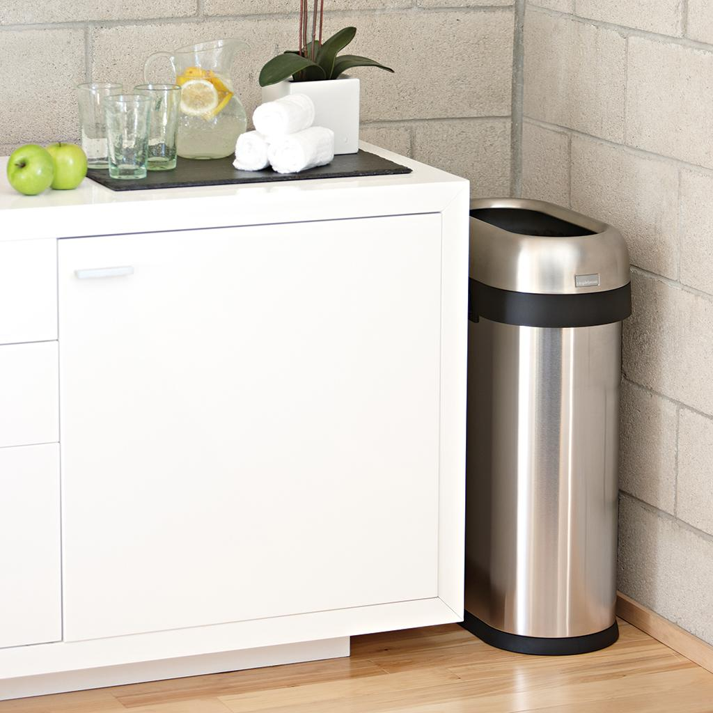 Simplehuman slim open trash can commercial grade heavy gauge stainless steel 50 l - Slim garbage cans for kitchen ...