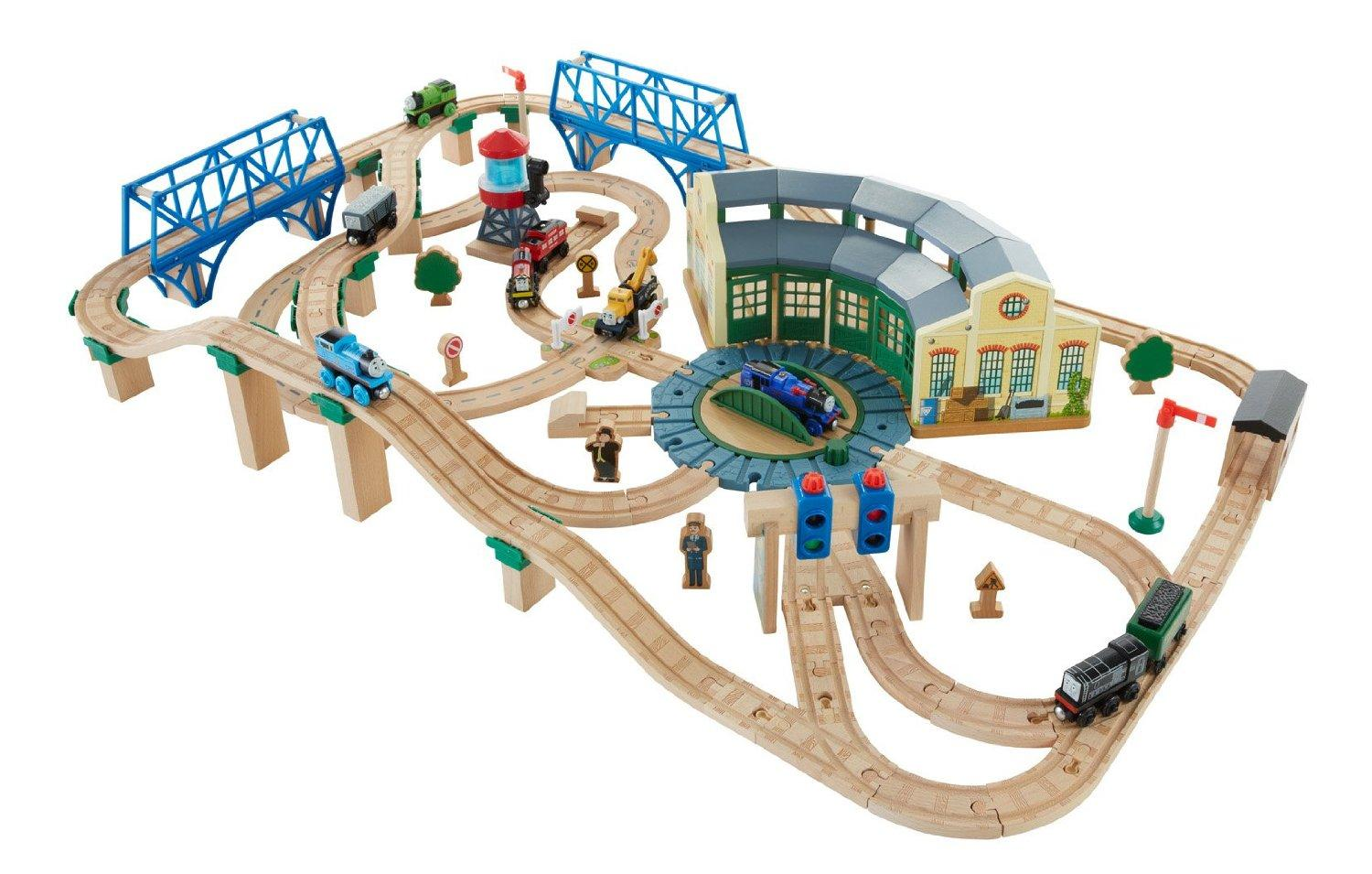 thomas friends fisher price wooden railway tidmouth sheds deluxe set toys games. Black Bedroom Furniture Sets. Home Design Ideas