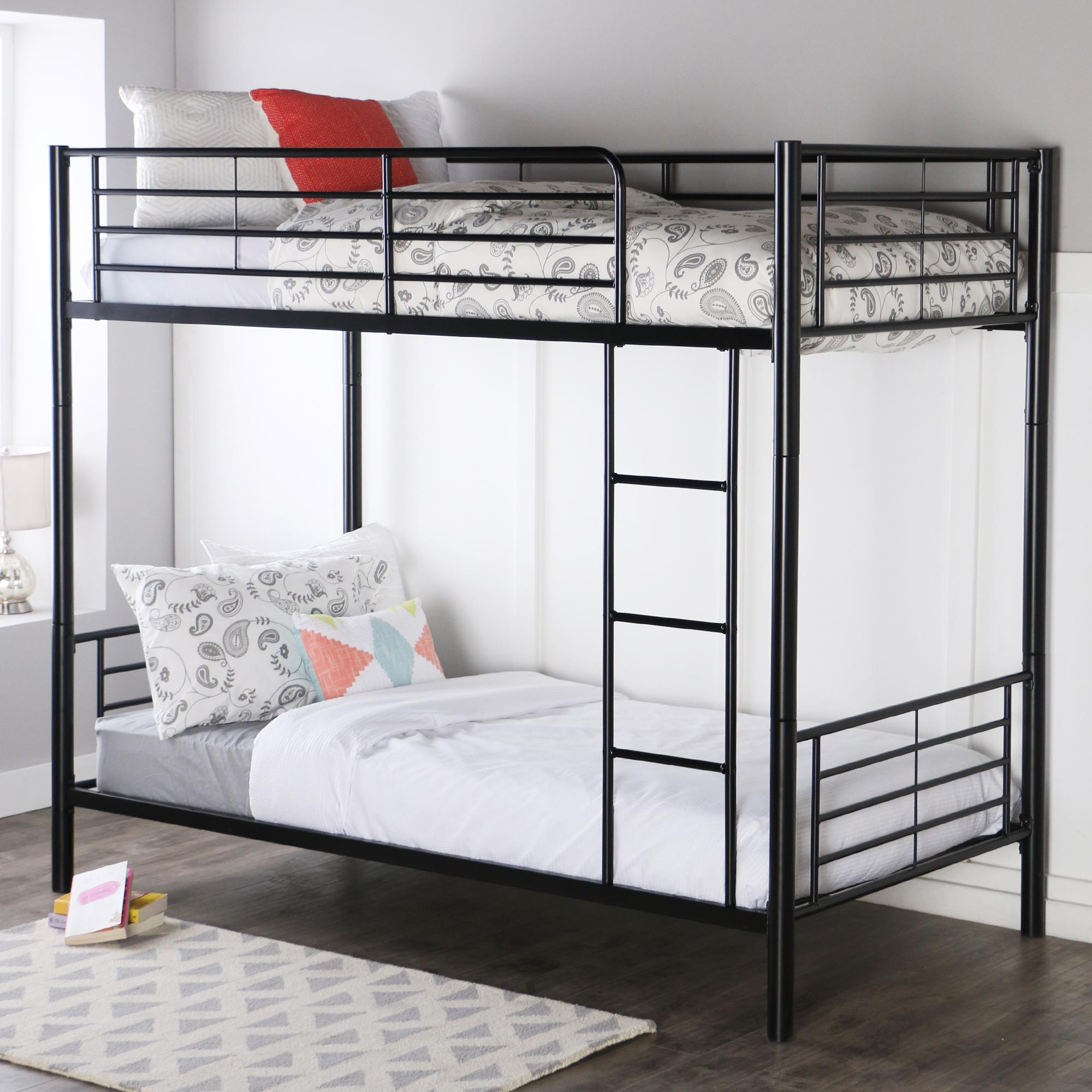 Walker edison twin over twin metal bunk bed Black bunk beds