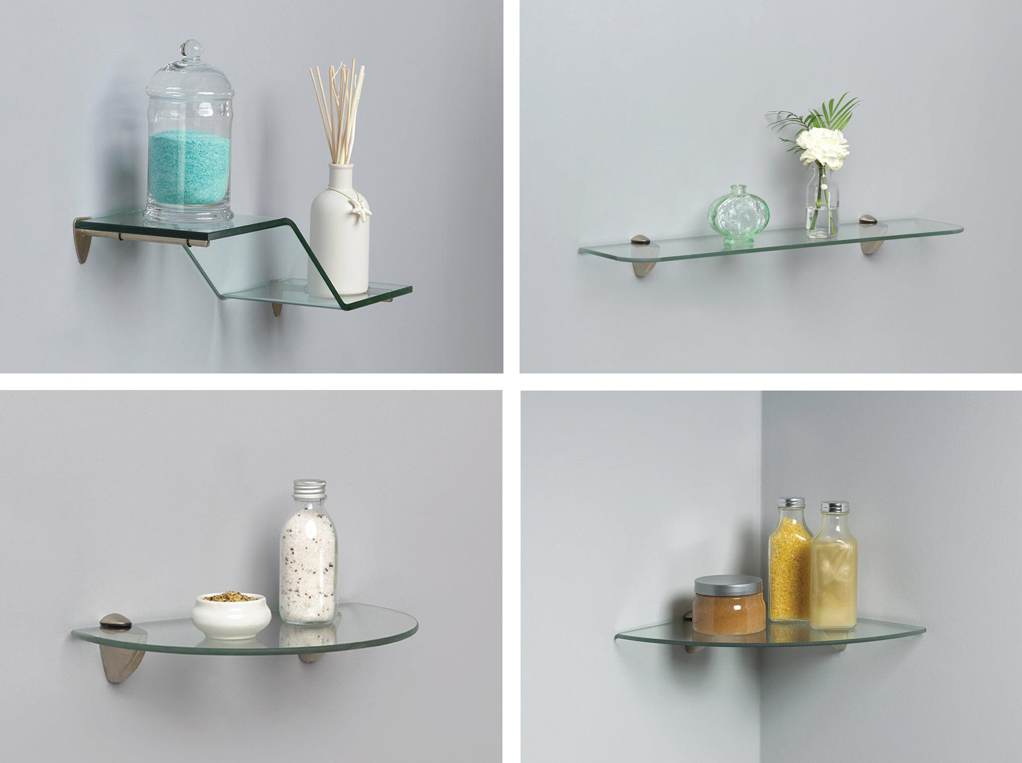 Shelf made kt 0134 624sn glass shelf kit - Bathroom glass corner shelves shower ...