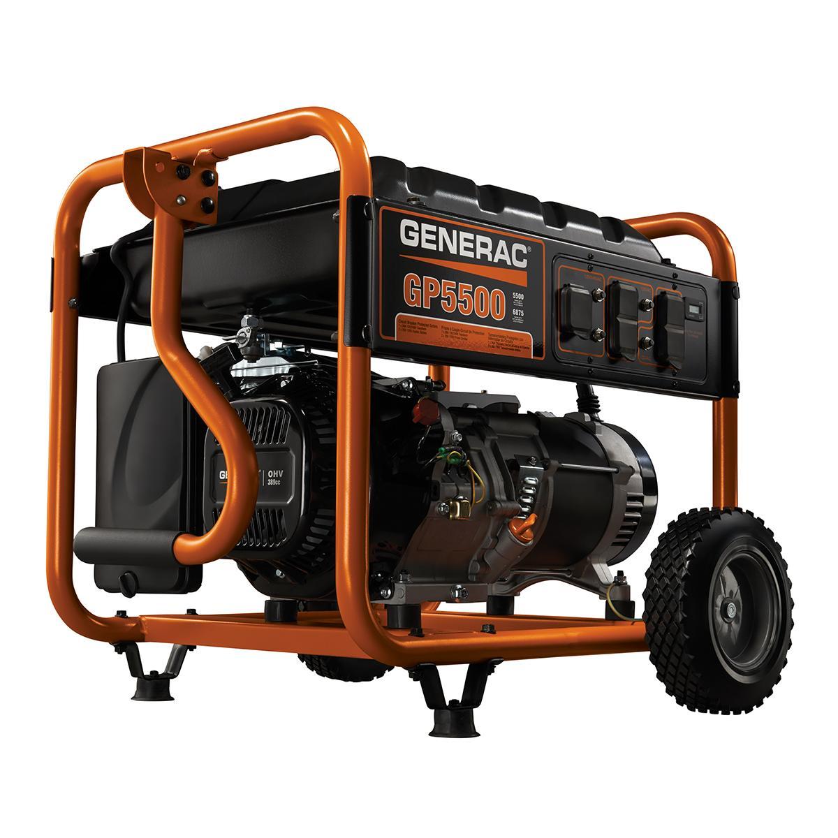 Generac 5939 GP5500 5500 Running Watts/6875 Starting Watts Gas Powered  Portable Generator