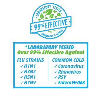 99% Effective, Flu Viruses, Cold Viruses, Laboratory Tested