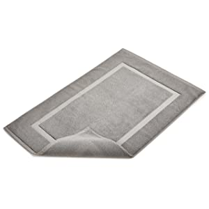 Amazon Com Amazonbasics Banded Towel Like Bath Mat Grey