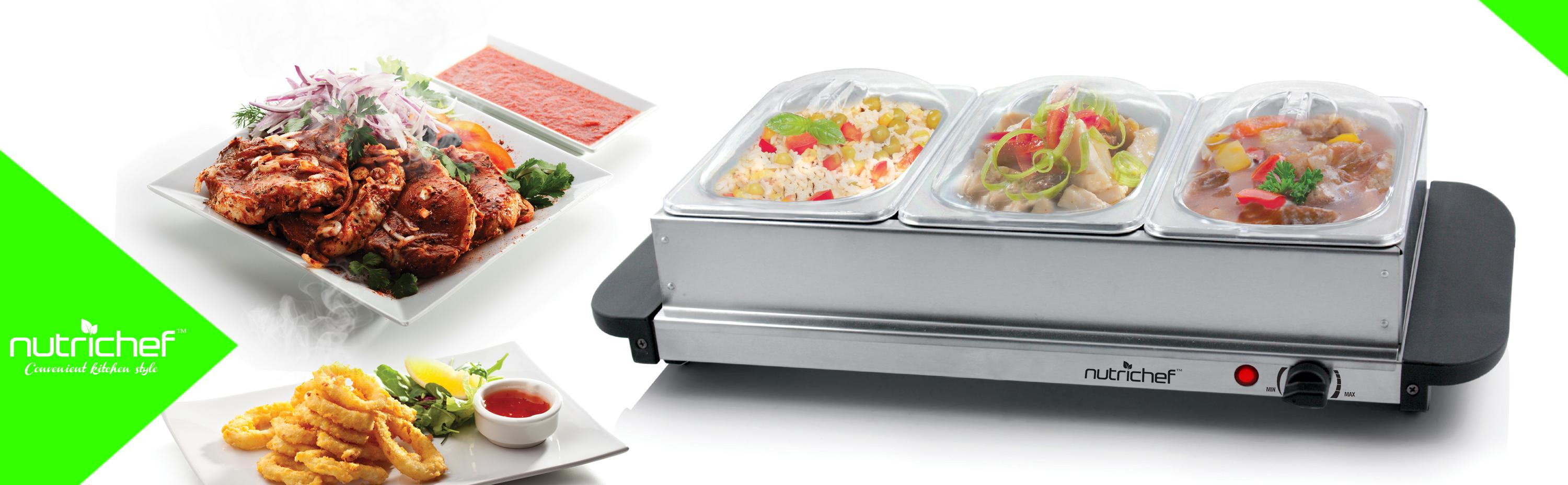 Nutrichef 3 tray buffet server hot plate for Meal outdoors