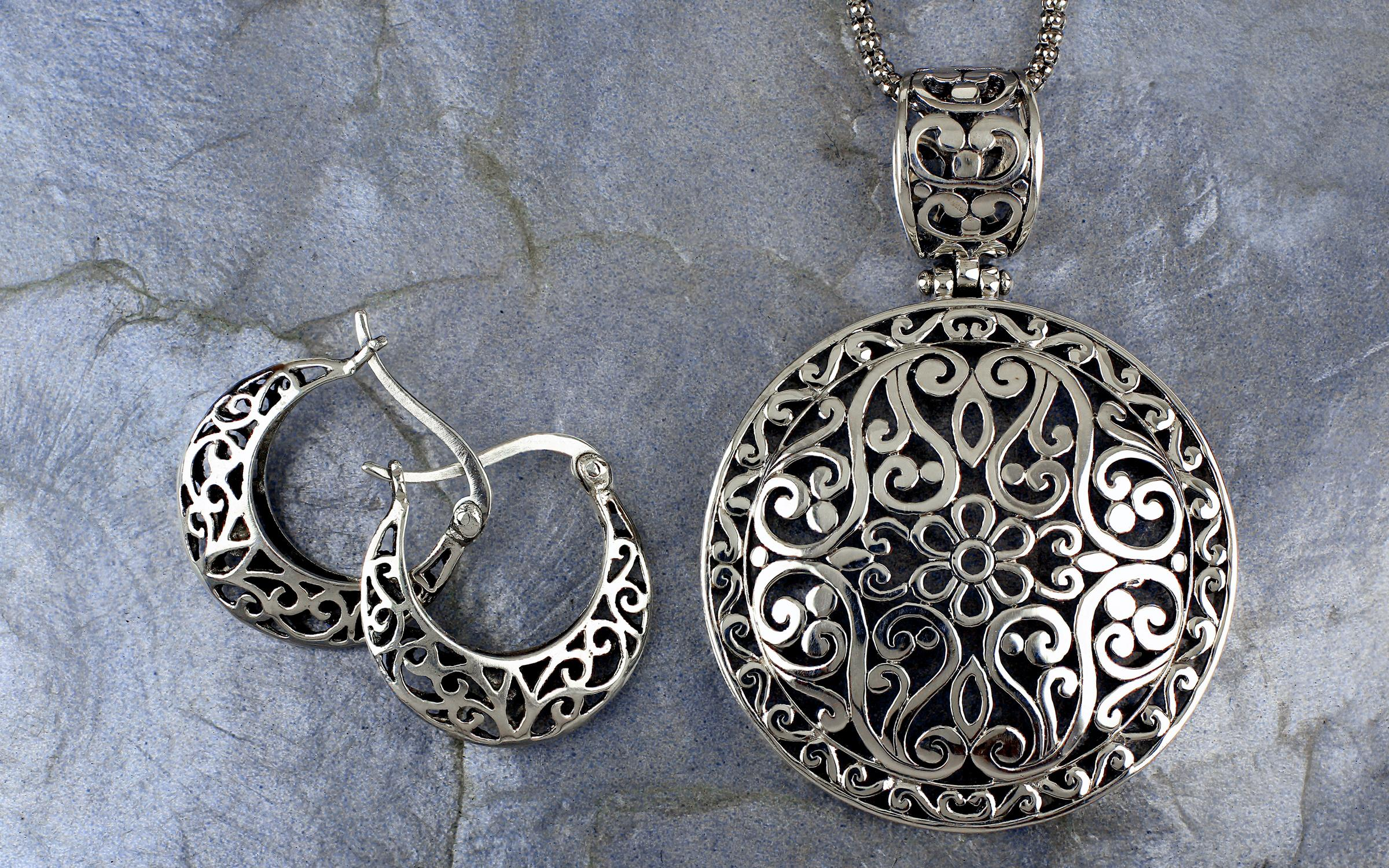 set product silver filigree butterfly