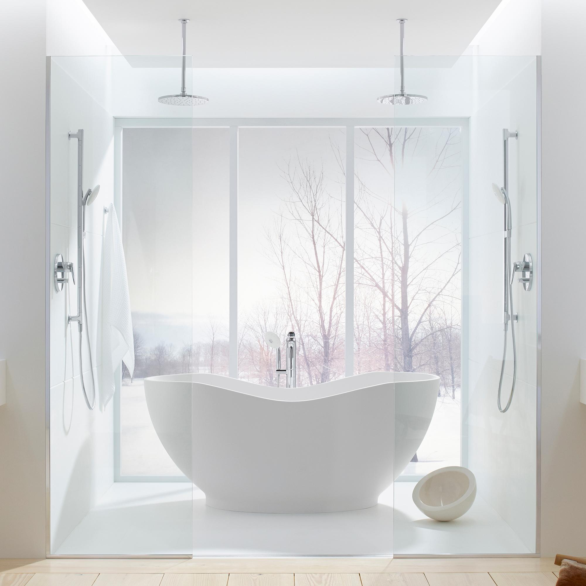 Kohler k 1800 hw1 abrazo freestanding bath honed white for Bath 1800