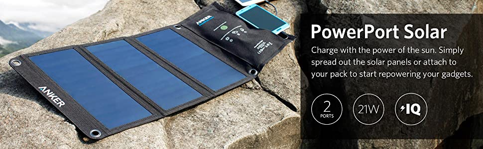 Amazon Com Anker 21w Dual Usb Solar Charger Powerport