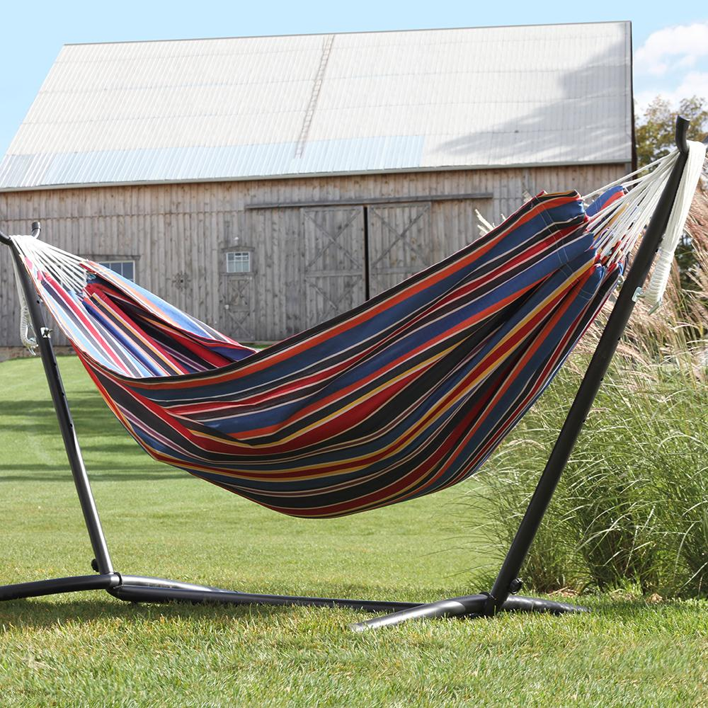 view larger amazon     vivere double hammock with space saving steel stand      rh   amazon
