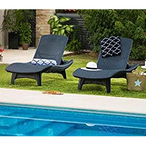 Keter Resin Plastic Outdoor Chaise Lounge Chairs, Set Of 2