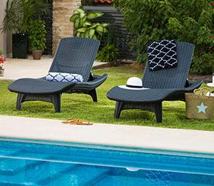Keter resin plastic outdoor chaise lounge chairs set of 2 : wooden chaise lounge chairs - Sectionals, Sofas & Couches