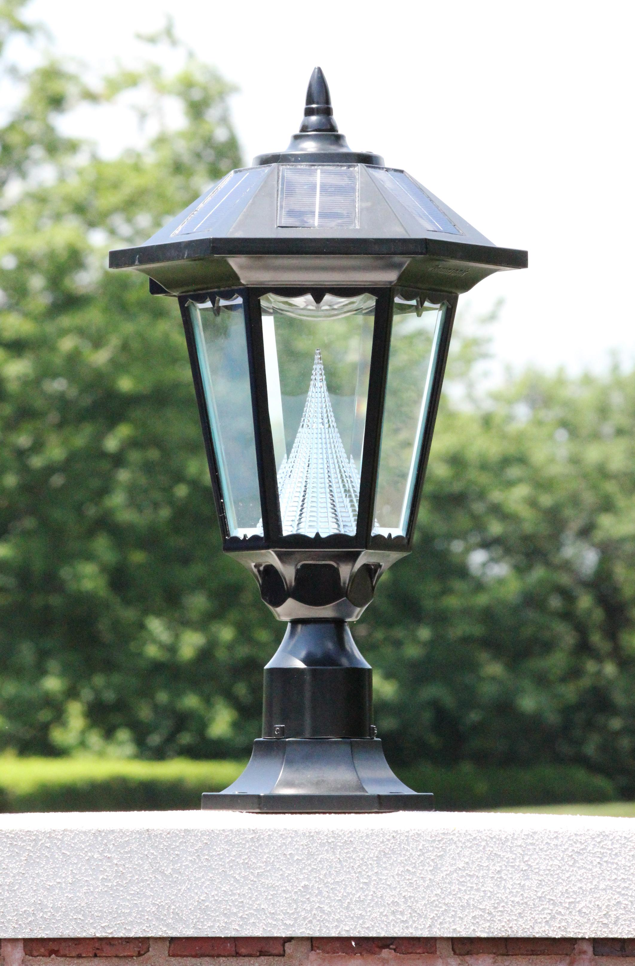 Gama Sonic Windsor Outdoor Solar Light GS 99F On Its Pier Mount Outside