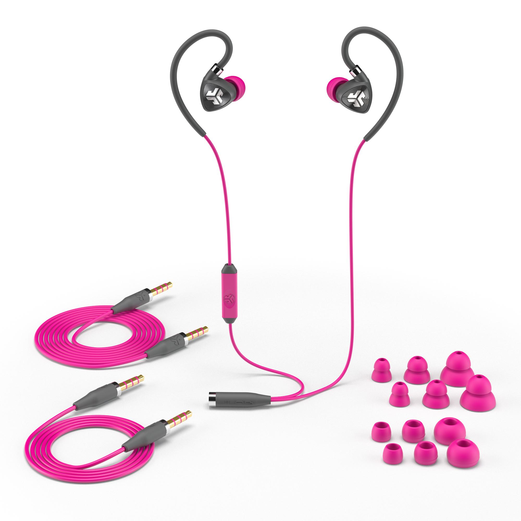 jlab audio fit2 sport earbuds sweatproof water resistant with in wire customizable. Black Bedroom Furniture Sets. Home Design Ideas
