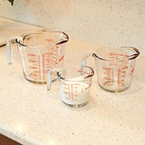 anchor hocking; glass; glassware; measuring cups; 1 cup; 2 cup; 4 cup; set; prep; baking; cooking;