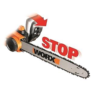 chain brake added safety automatically stop kickback ergonomic handle control