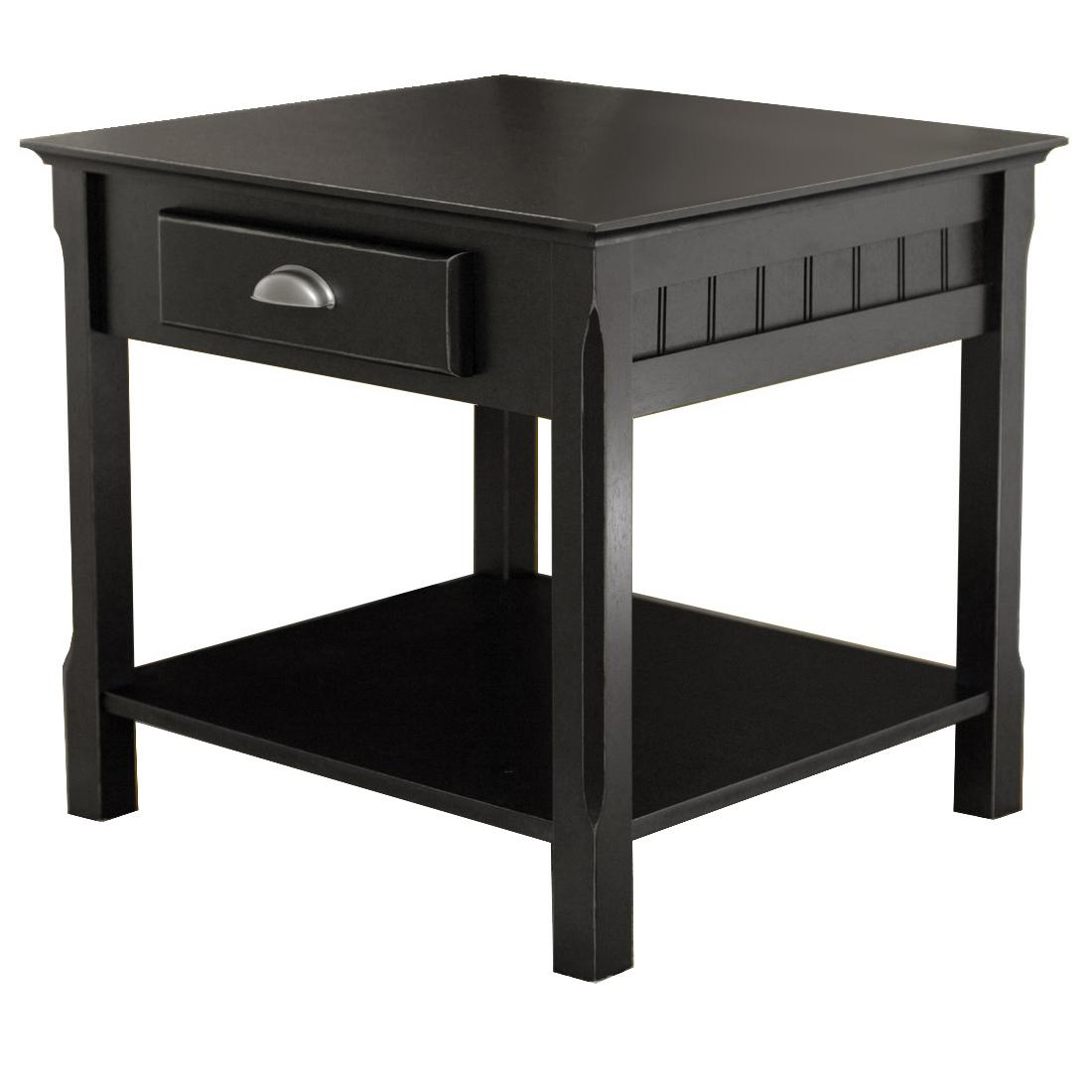 Fresh Amazon.com: Winsome Wood End Table with Drawer and Shelf, Black  NG66