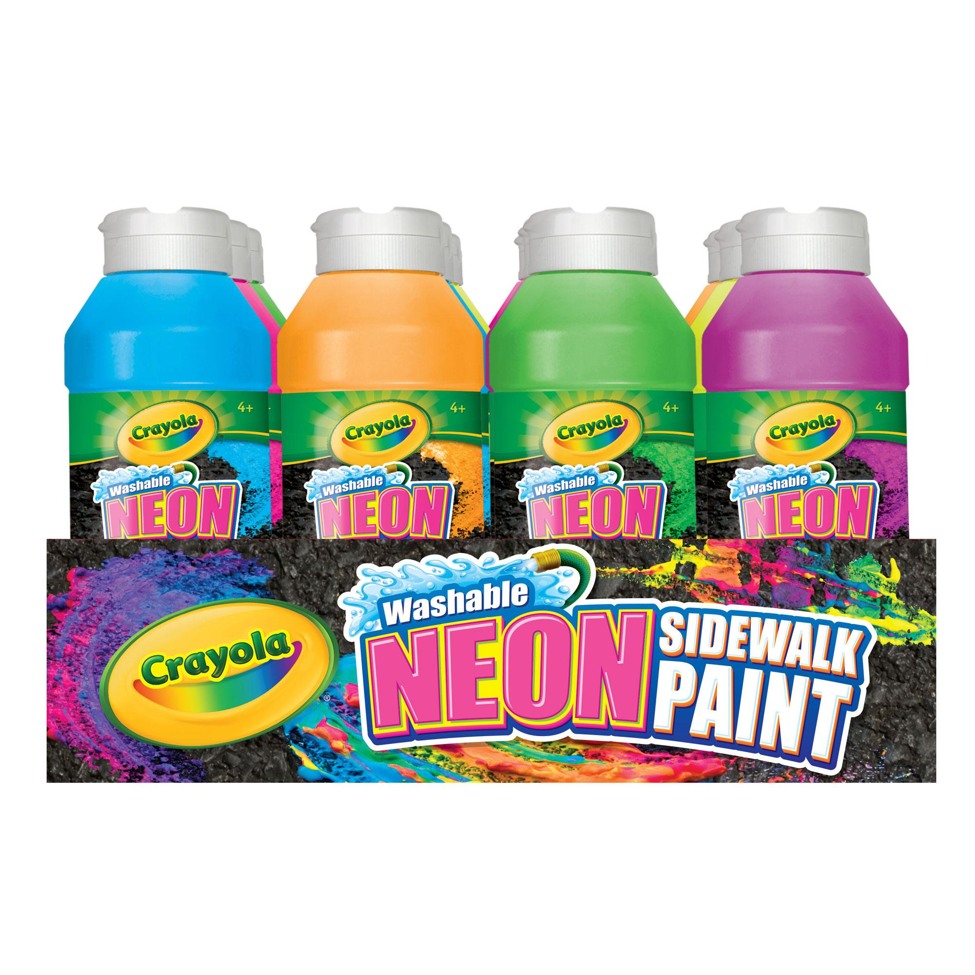 amazon com crayola tray of neon sidewalk paint toys games