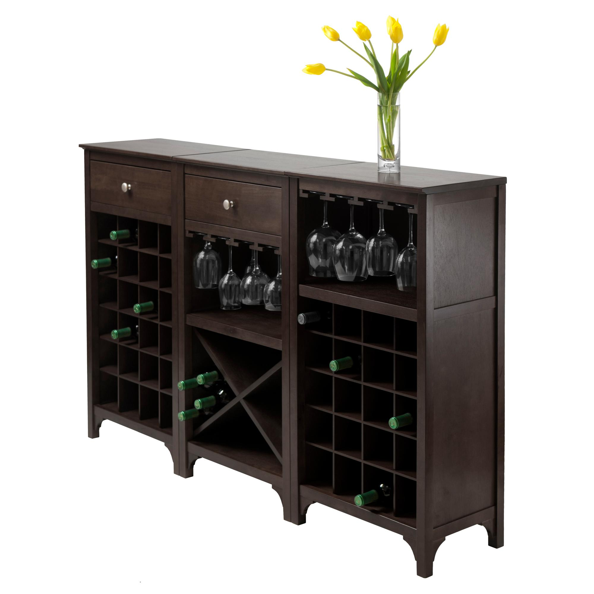 Winsome 3 Piece Ancona Wine Cabinet Modular Set Black Kitchen Dining