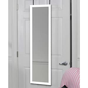 Mirrotek dm1448wt over the door mirror white for Long wall hanging mirrors