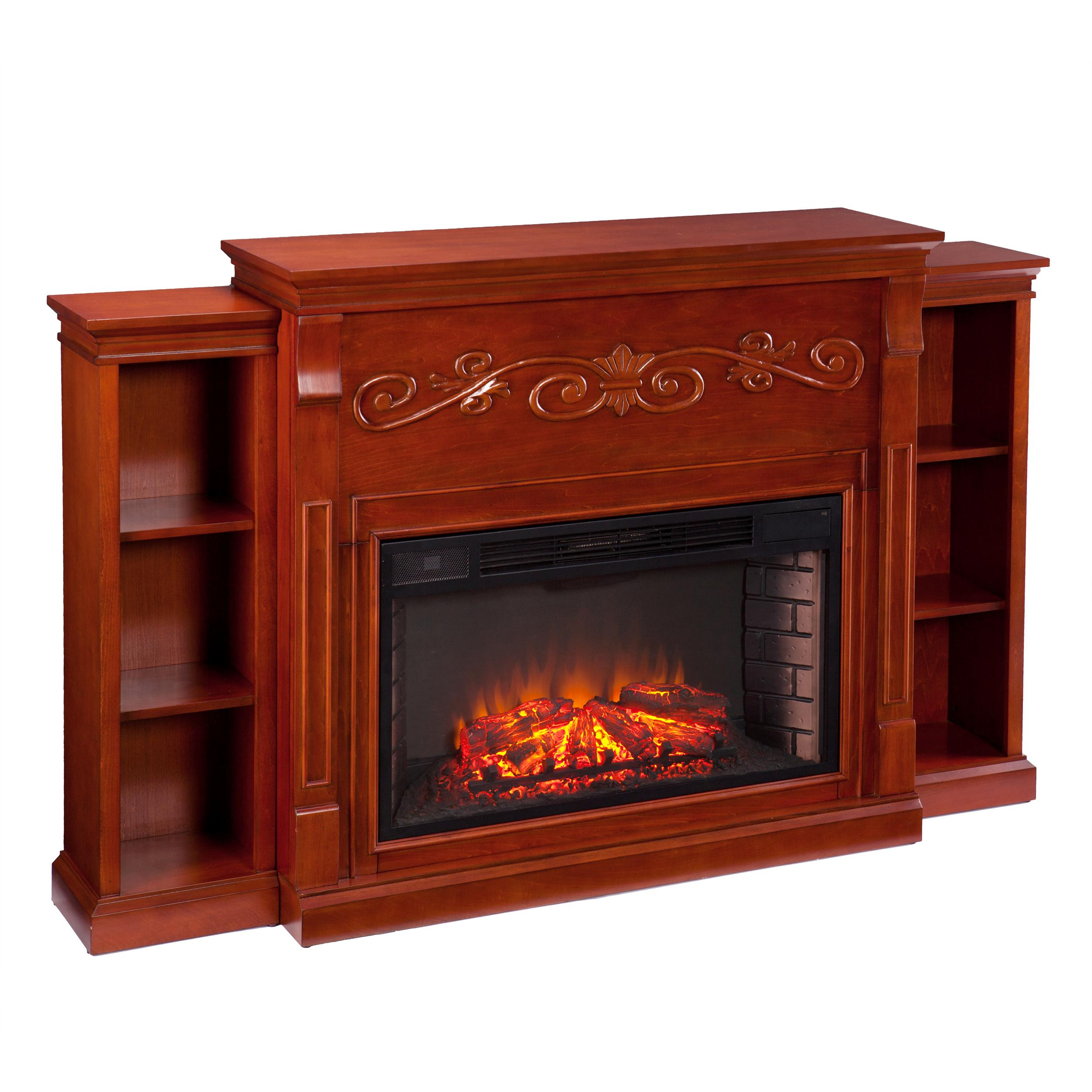 locksley bookcase electric fireplace classic mahogany kitchen dining. Black Bedroom Furniture Sets. Home Design Ideas