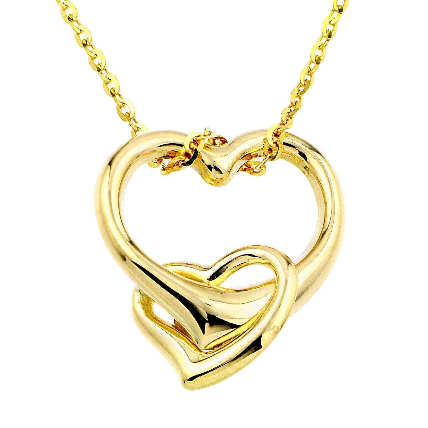 silver en you paj tone heart two i double love accent canada with sterling walmart pendant diamond ip