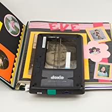 scanning a picture from a page in a colorful scrapbook