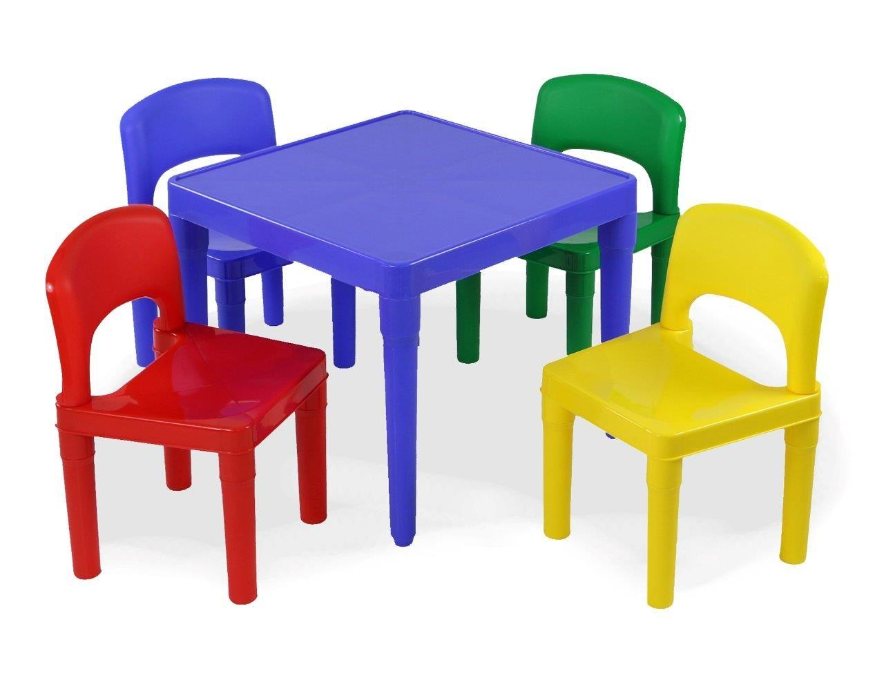 tot tutors kids plastic table and 4 chairs set primary colors primary collection. Black Bedroom Furniture Sets. Home Design Ideas