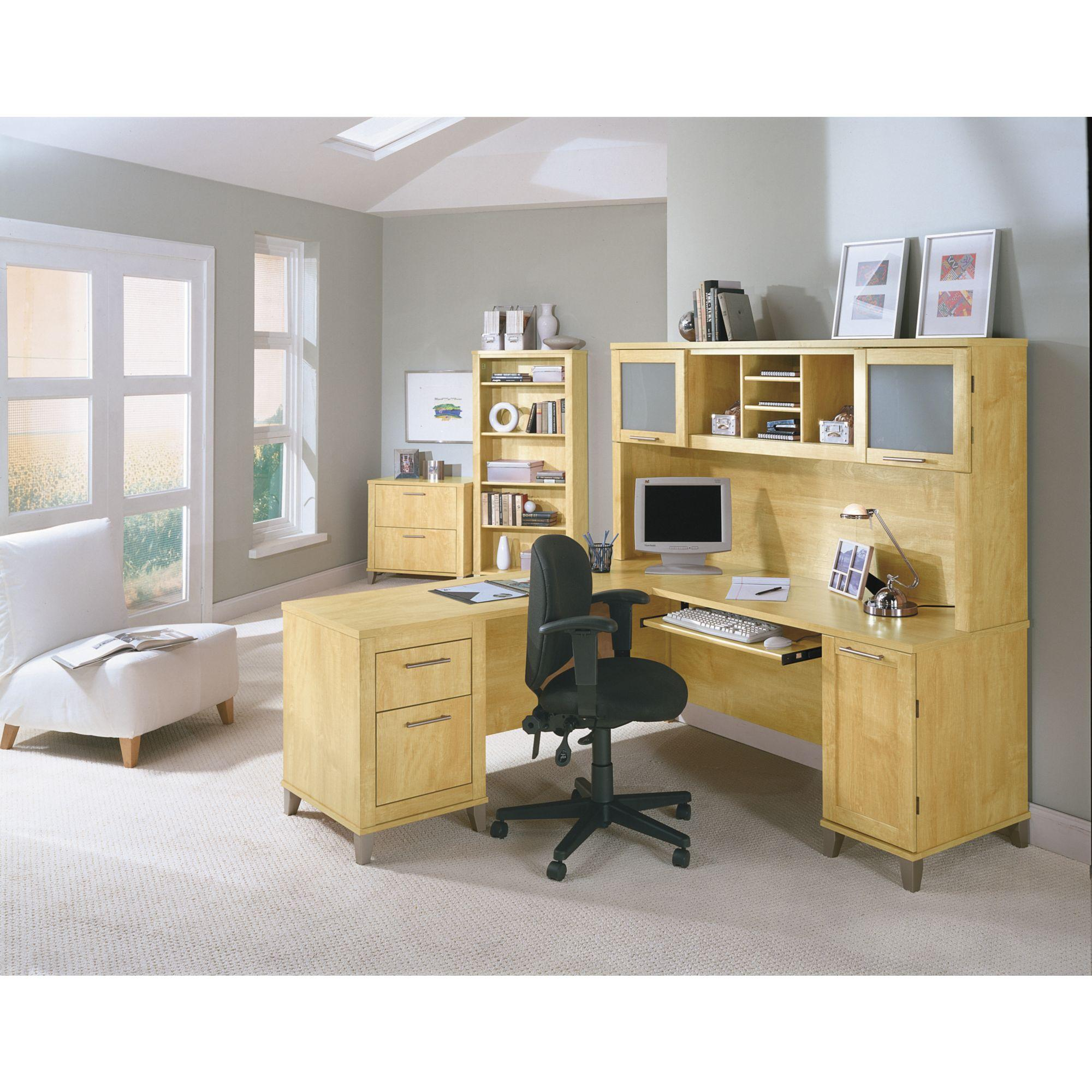 Somerset 71w L Shaped Desk With Hutch Kitchen Dining