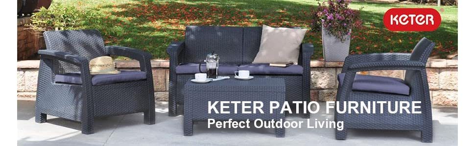 keter corfu outdoor patio furniture set with 2 chairs 1 loveseat and 1 coffee table - Cheap Patio Furniture Sets