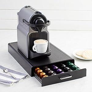 AmazonBasics Nespresso Coffee Pod Storage Drawer Holder, 50 Capsule Capacity