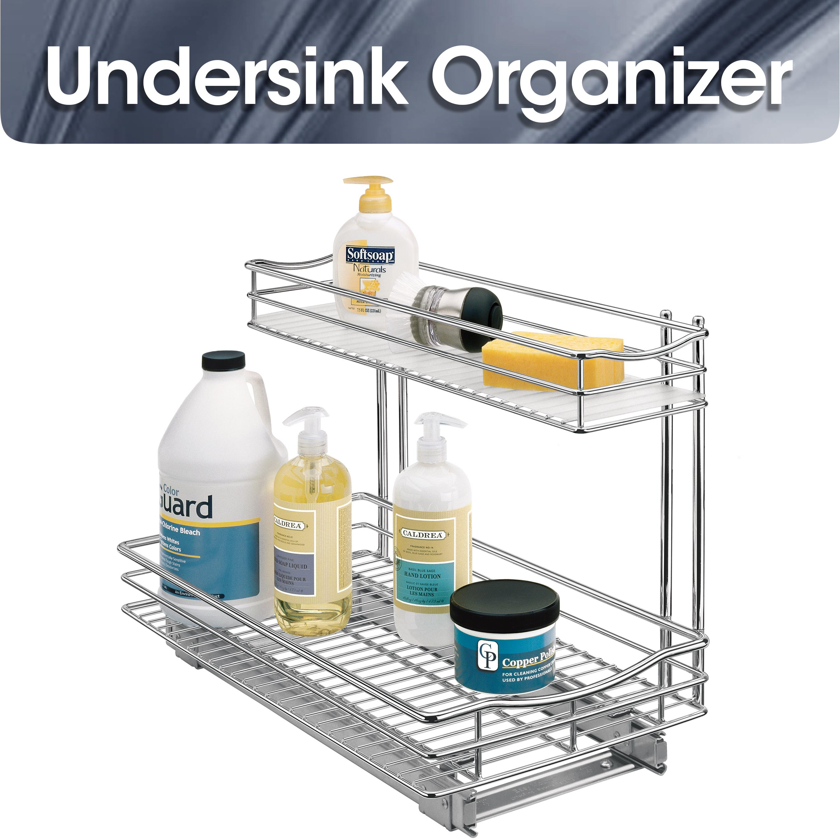 Lynk roll out under sink cabinet organizer pull out two tier sliding - Roll Out Undersink Cabinet Organizer Pull Out Two Tier Sliding Shelf View Larger