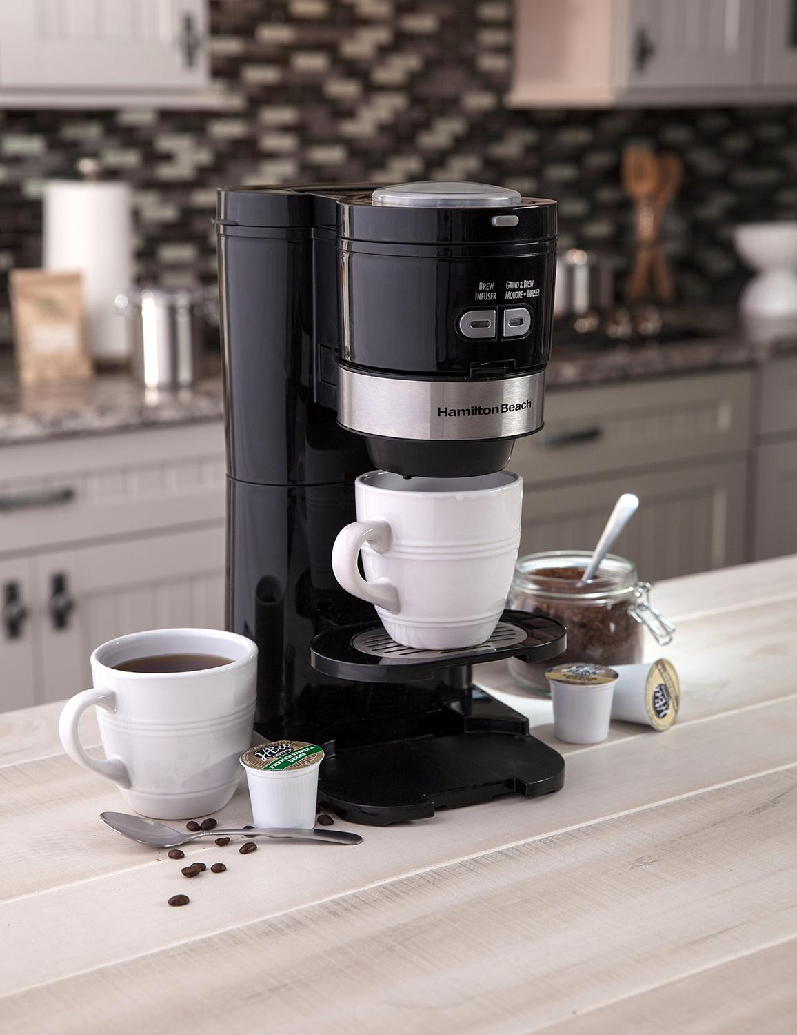 Hamilton Beach 2 Way Grind and Brew Single Serve 16 Ounce Coffee Maker 49989 eBay