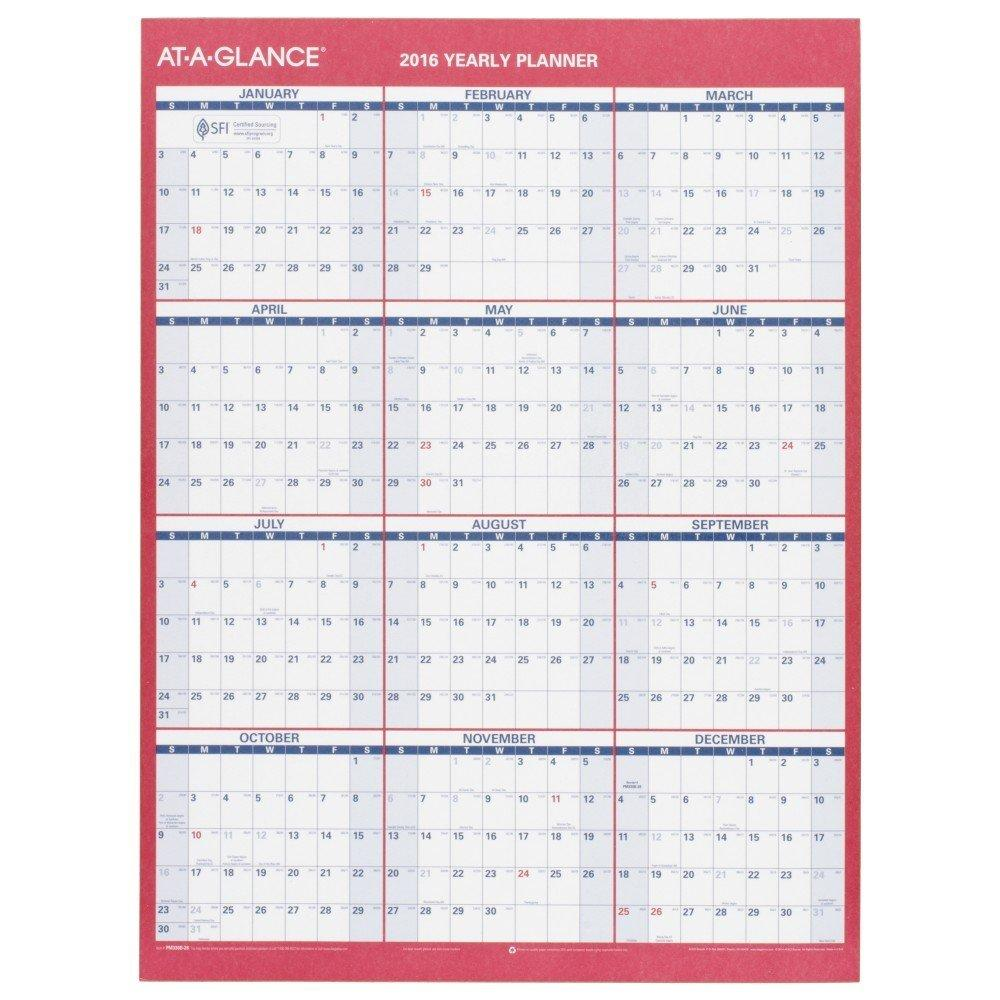 amazon com at a glance yearly wall calendar 2016 erasable 2 sided compact 12 x 15 11 16
