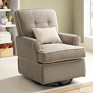Baby Relax Tinsley Swivel Glider Brown Nursery Room