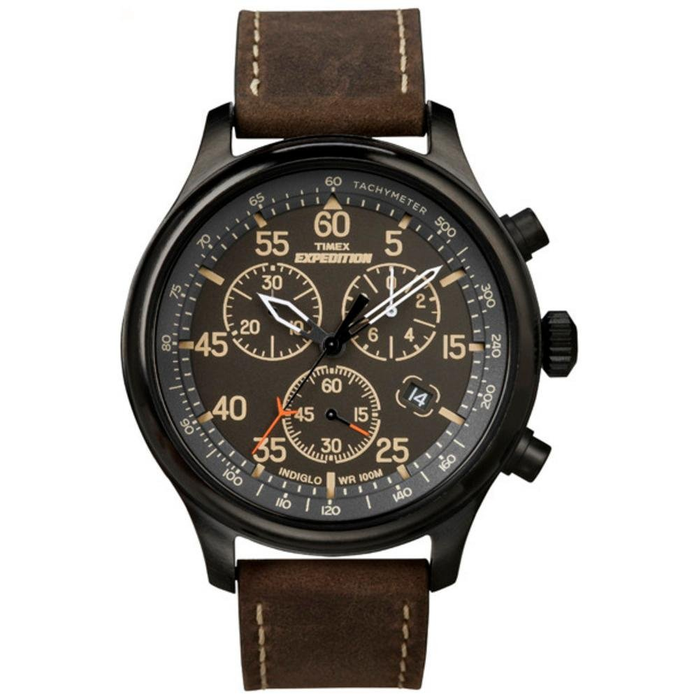 Timex men 39 s tw4b04300 expedition scout chrono brown natural leather strap watch for Leather strap watches