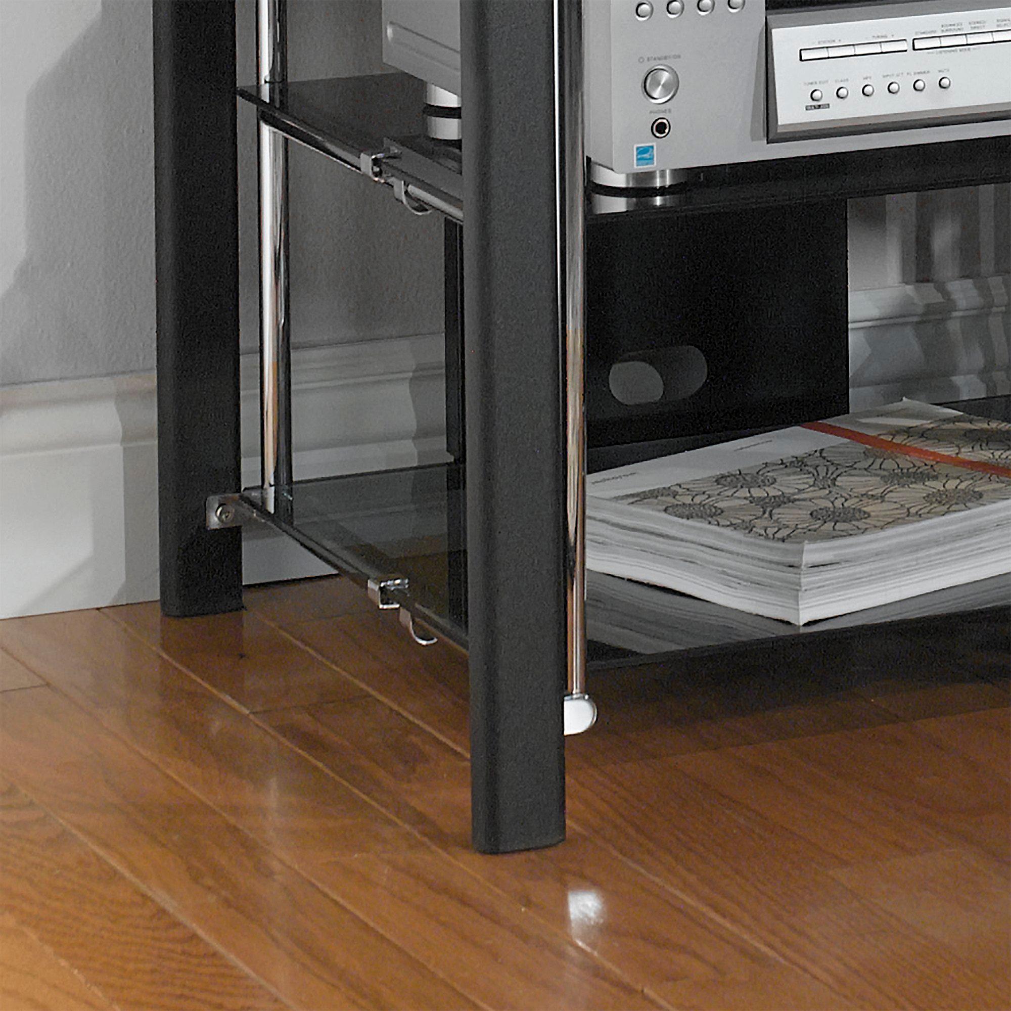 Media Stand Black Chrome Stereo Cd Dvd Audio Book Rack