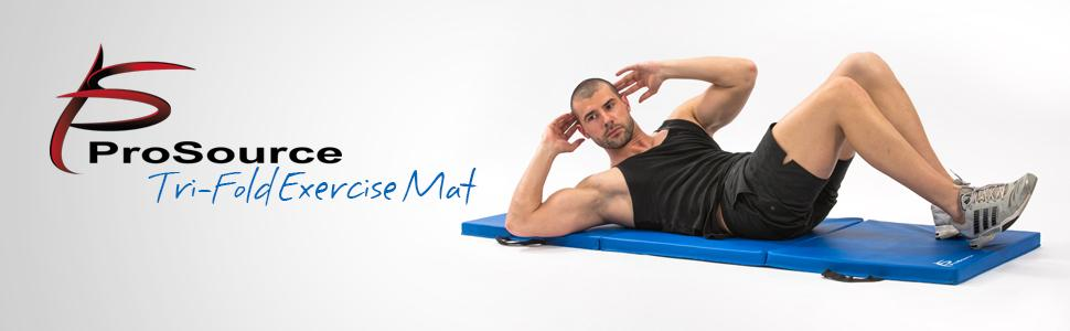 ProSource Tri-Fold Folding Thick Exercise Mat 6'x2' with Carrying Handles for MMA, Gymnastics,