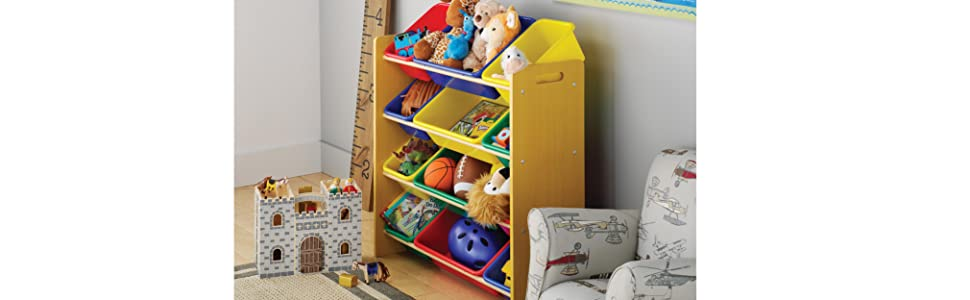 toy organizer, toy organizer with bins, toy storage, kids, honey-can-do, primary, tot tutors