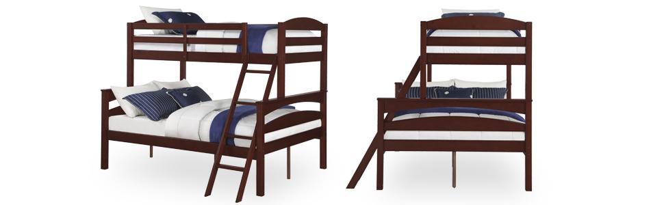 dorel living brady twin over full bunk bed espresso