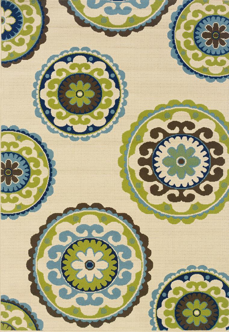 Amazon.com: Oriental Weavers 1003X Caspian Round Outdoor/Indoor Area ...