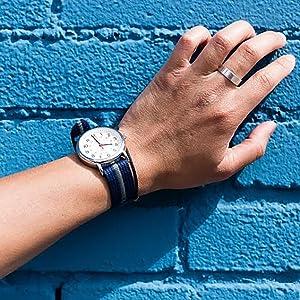 timex weekender T2N654 blue gray stripe