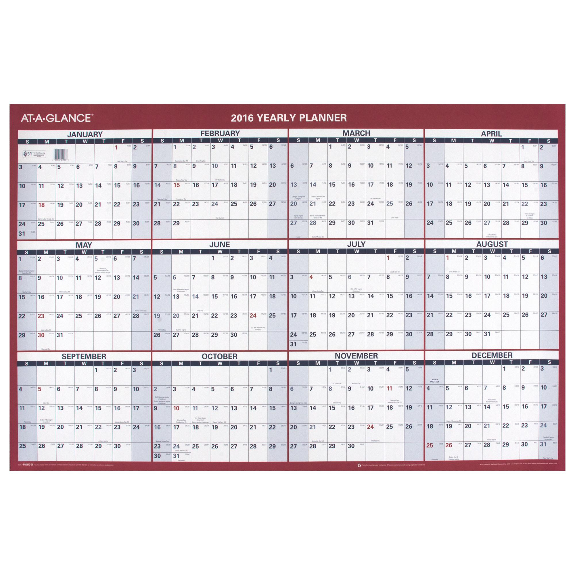 amazon com at a glance paper yearly wall calendar 2016 vertical
