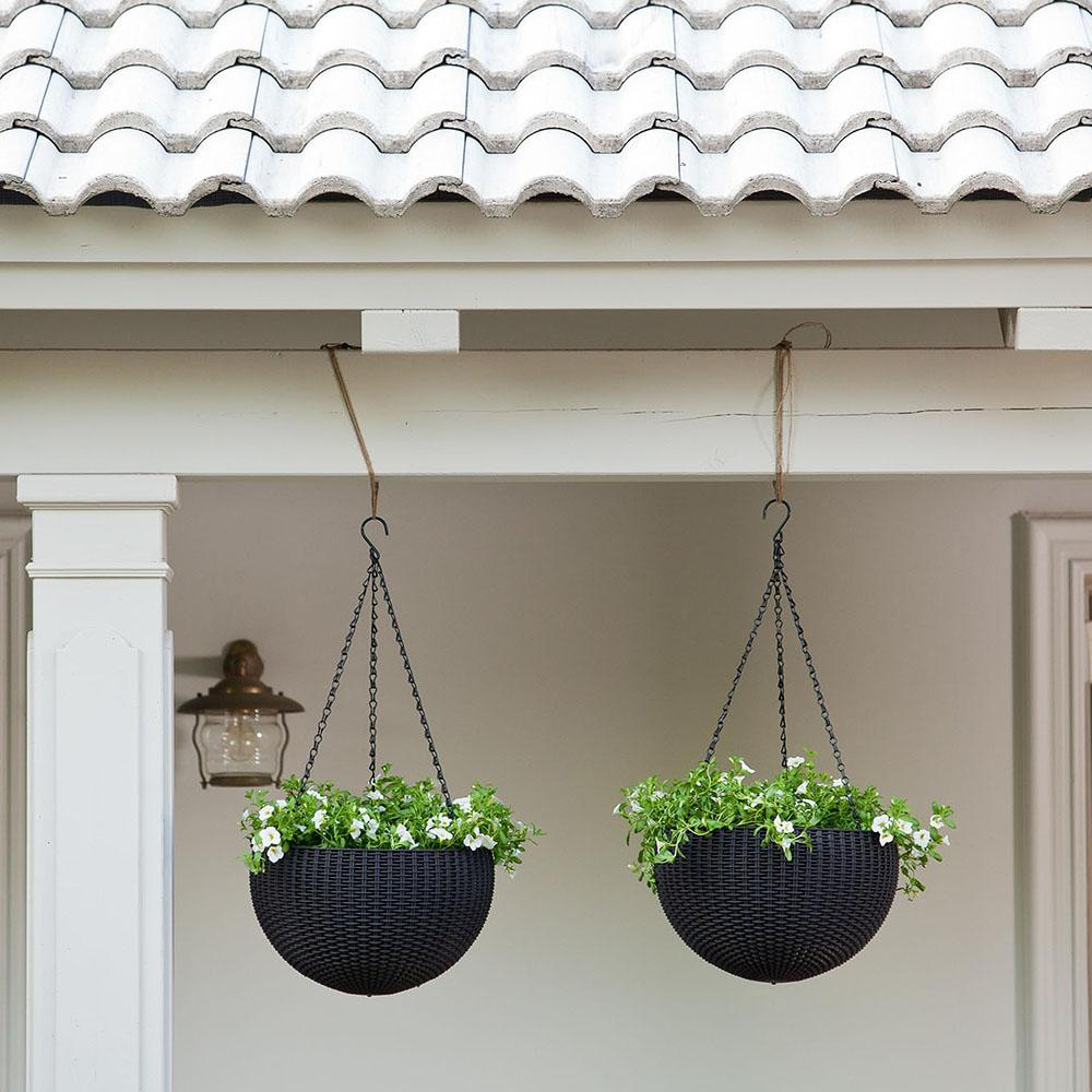 Hanging Light With Planter: Amazon.com : Keter Dia 13.9 In. Round Plastic Resin Garden