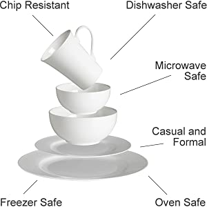 chip resistant dishes, microwave safe plates, oven safe, frezzer safe, casual and formal dinnerware