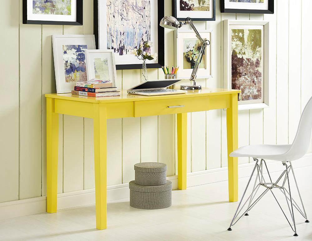 Amazon.com: WE Furniture Wood Storage Computer Desk, Yellow: Kitchen