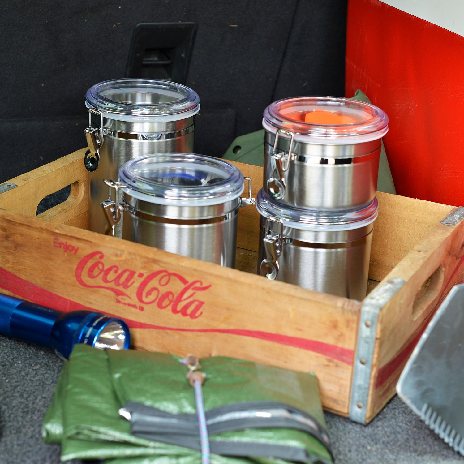 Anchor Hocking 4 Piece Stainless Steel Clamp Canister Set With Clear Lid Ebay
