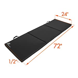 ProSource Exercise Mat 6'x2' with Carrying Handles for MMA, Gymnastics, Stretching, Core Workouts