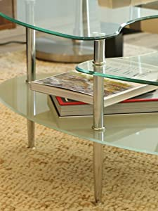 Enjoy Your Morning Coffee With This Beautiful Coffee Table. Features A  Frosted Lower Shelf And Three Levels Of Storage Space.