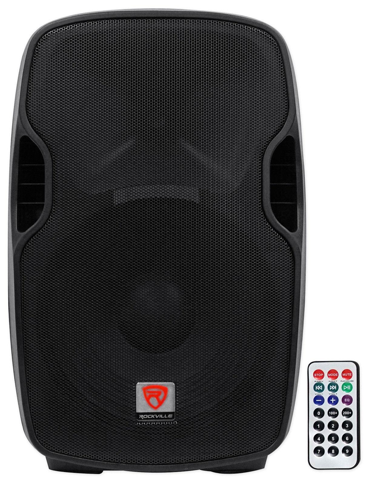rockville professional powered active 800w dj pa speaker w bluetooth 15 inch bpa15. Black Bedroom Furniture Sets. Home Design Ideas